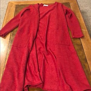 Deep Red Sarah long cardigan sweater